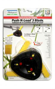 The Shakespeare® Push-N-Load 3-Blade Trimmer Head for Gas Trimmers uses nylon blades that are ideal for cutting both grass and weeds. This head features a push-button method for re-loading blades that saves time and frustration.